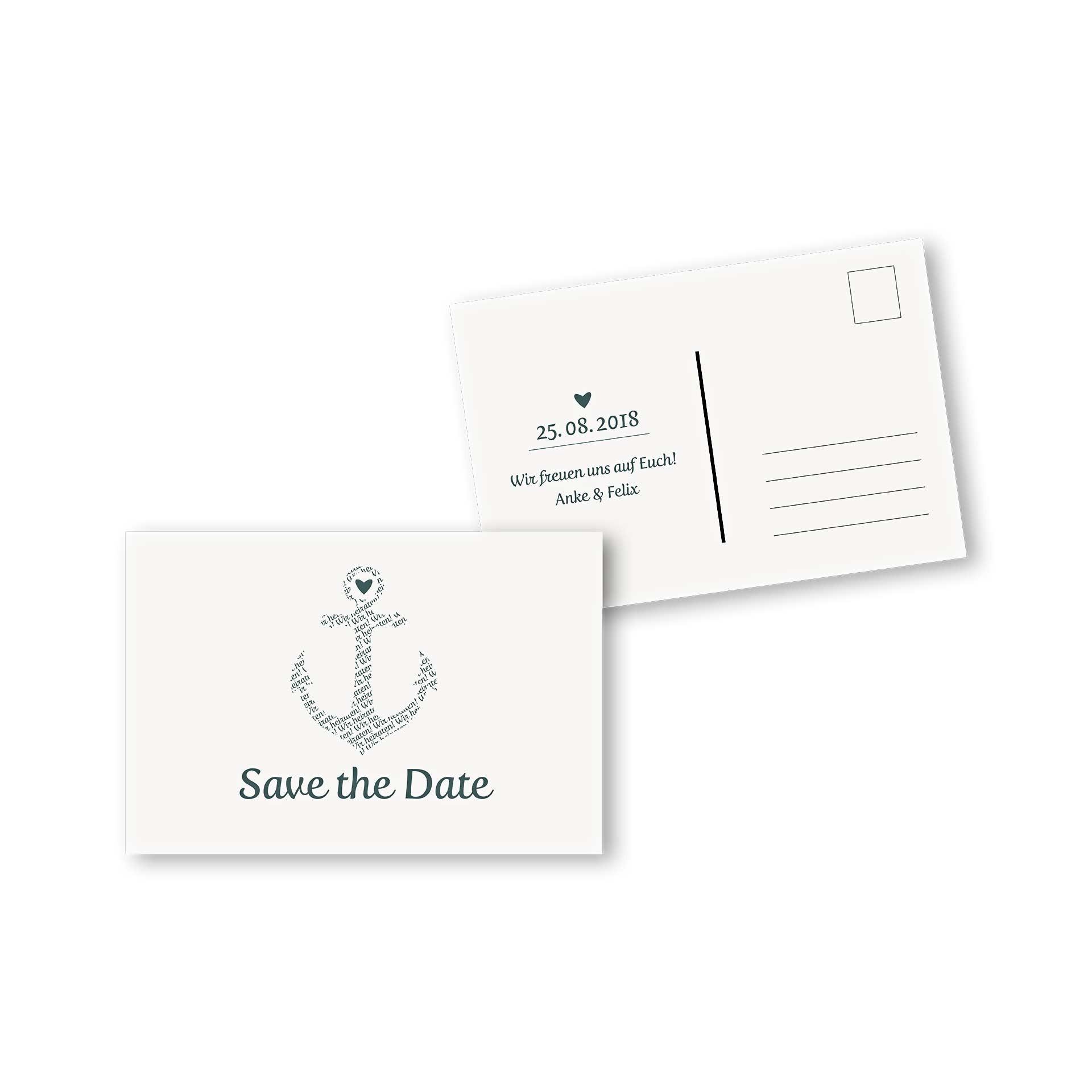 Save the Date Postkarte DIN A6 im Design Anker kombiniert mit