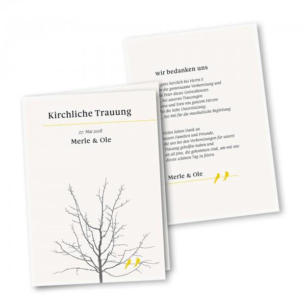 Kirchenheft 4 Seiter – Klappkarte DIN-A5 Kartendesign Verliebte Vögel im Baum