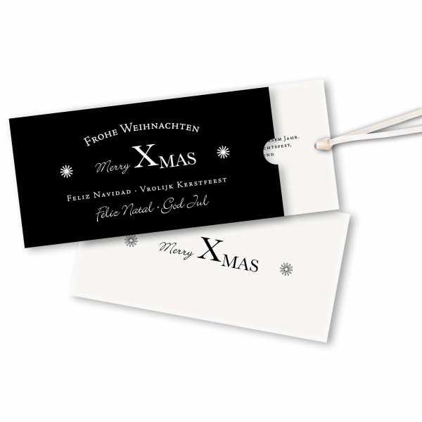 Weihnachtskarte – Schuberkarte DIN-lang mit Satinband Weihnachtskarte black & white