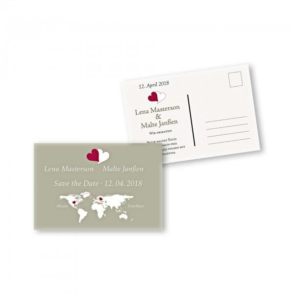 Save the Date Postkarte – 2-Seiter DIN-A6 Kartendesign Herzentreffen Version 1