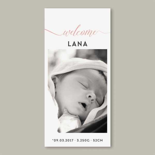 Geburtskarte – Klappkarte – 4-Seiter Klappkarte zur Geburt in der Größe DIN-lang Hochformat mit dem Design Lana