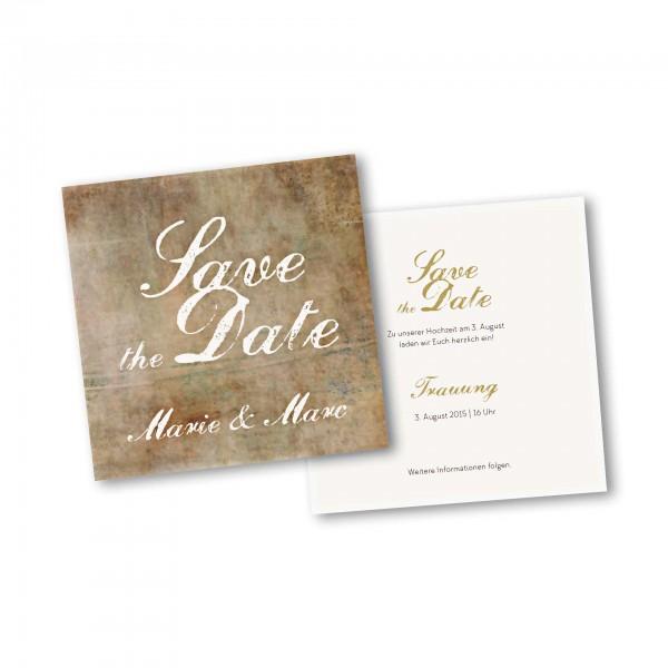 Save the Date Karte – 2-Seiter quadratisch Kartendesign Vintage Hochzeitskarte