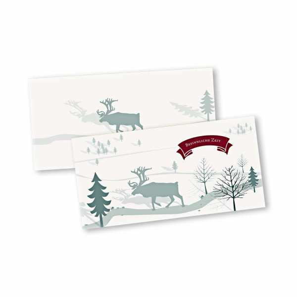 Weihnachtskarte – Klappkarte DIN-lang mit Kopffalz im Kartendesign Besinnliche Zeit Version 1