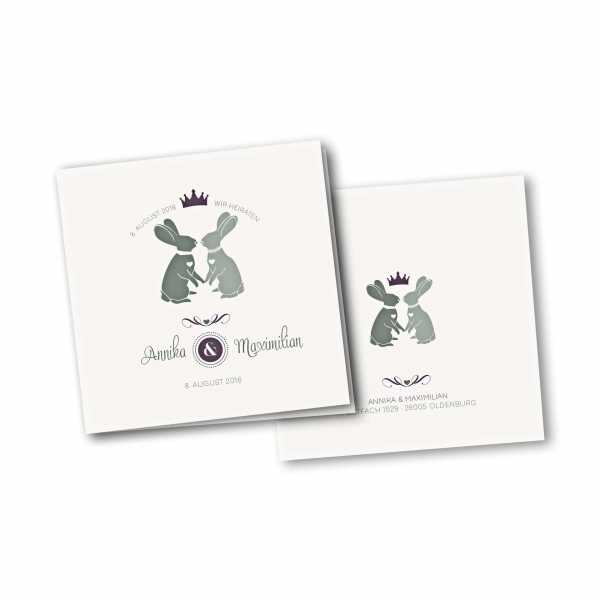 Einladungskarte – 4-Seiter quadratisch Kartendesign Zwei verliebte Hasen Version 2