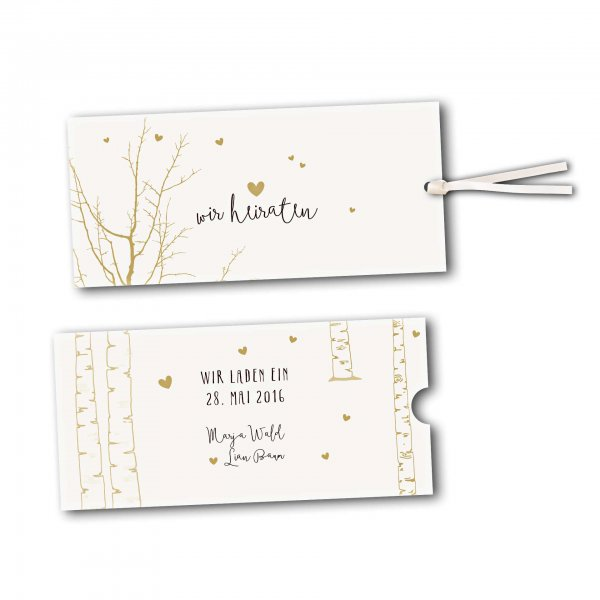 Schuberkarte - Kartendesign Verliebt unter Birken Version 2