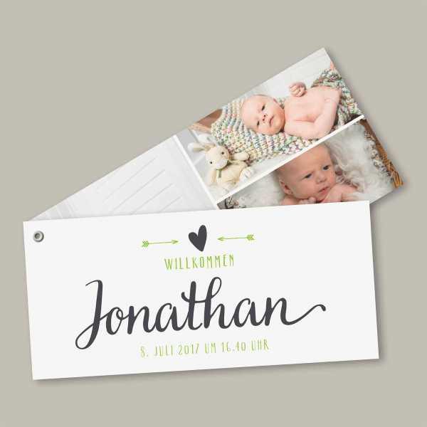 Geburtskarte – Fächerkarte – 2-Blätter Fächerkarte zur Geburt in der Größe DIN-lang Querformat mit dem Design Jonathan