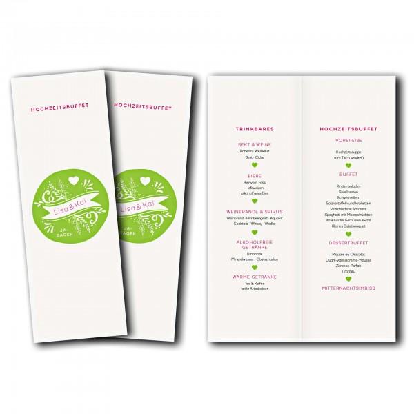 Menükarte – Kartendesign Kreis und Herz Version 2