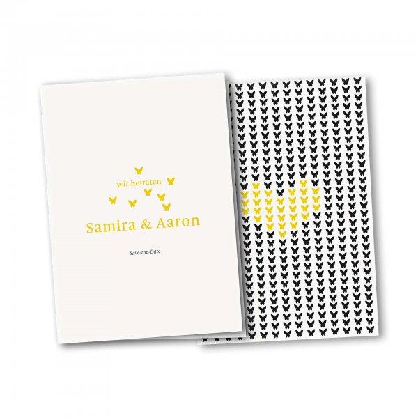 Einladungskarte – 4-Seiter DIN-A5 Kartendesign Verliebte Schmetterlinge zur Hochzeit