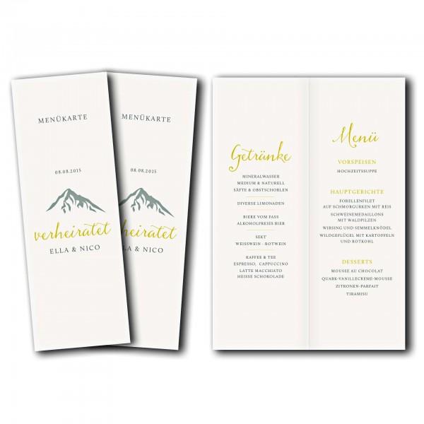 Menükarte – Kartendesign Hochzeitsfeier in den Bergen Version 2