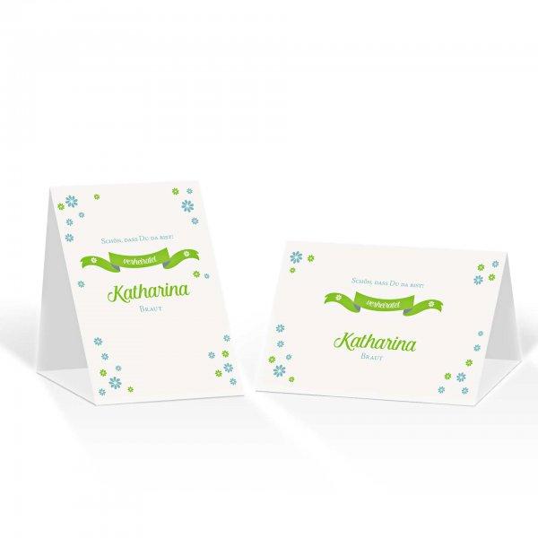 Platzkarte Aufsteller A6 – Kartendesign Verspielte Blumen