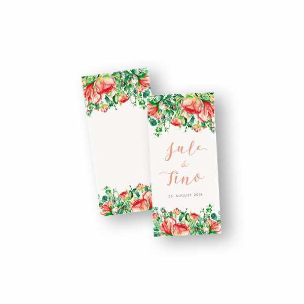 Einladungskarten – Klappkarte – DIN-lang im Hochformat mit Kopffalz mit dem Design Blumen-Meer