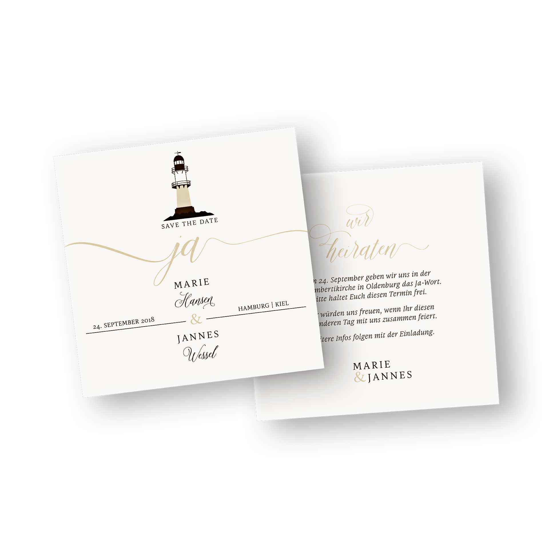 Save The Date 2 Seiter Quadratisch Im Design Leuchtturm Maritim