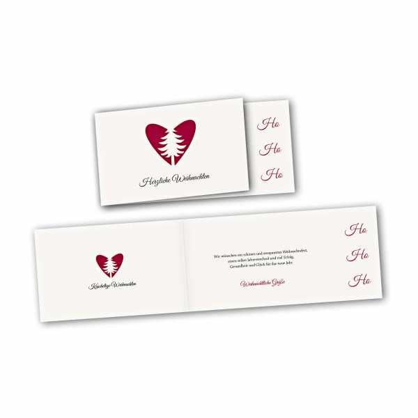 Weihnachtskarte – asymmetrische Klappkarte DIN-lang mit Rückenfalz im Kartendesign Herzliche Weihnachten