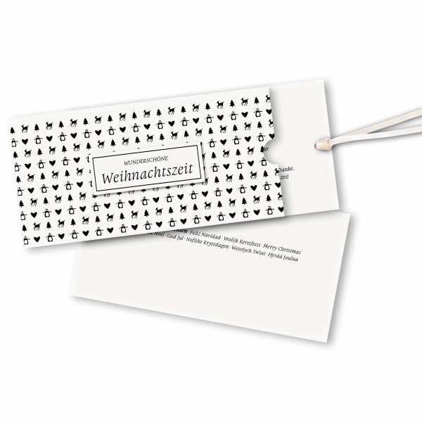 Weihnachtskarte – Schuberkarte DIN-lang mit Satinband Weihnachtsmuster schwarzweiß Version 2