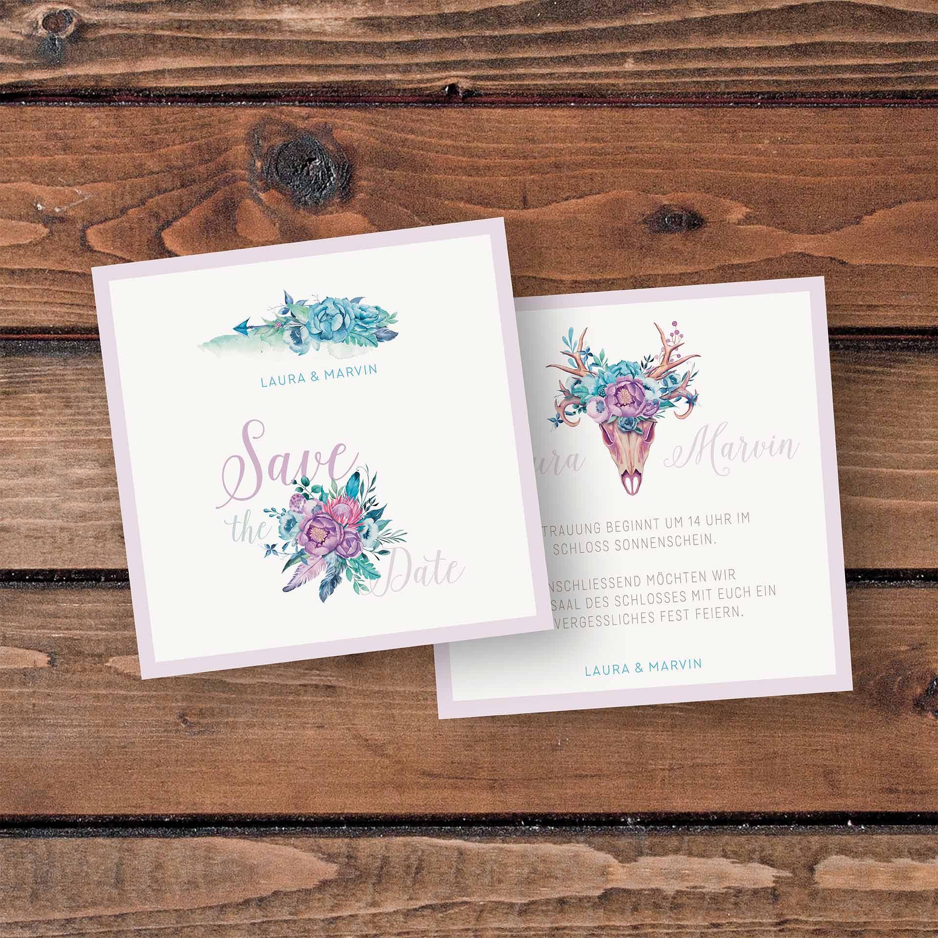 SavetheDate Karten mit Design Boho-Hochzeit