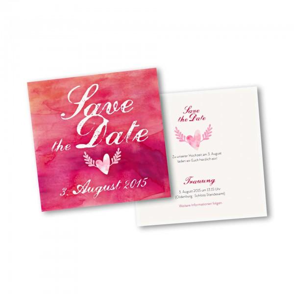 Save the Date Karte – 2-Seiter quadratisch Kartendesign Hochzeitsherz mit Flügeln