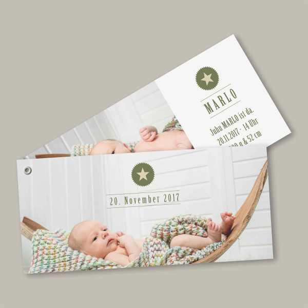Geburtskarte – Fächerkarte – 2-Blätter Fächerkarte zur Geburt in der Größe DIN-lang Querformat mit dem Design Marlo