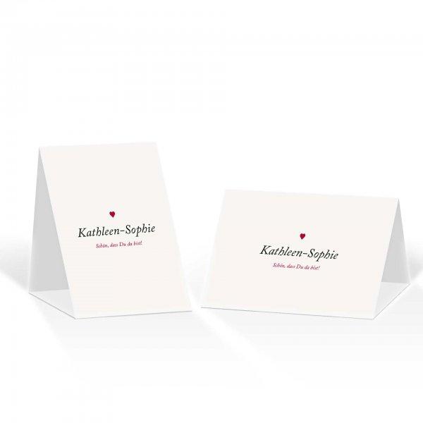 Platzkarte Aufsteller A6 – Kartendesign Kleines Herz zur Hochzeit