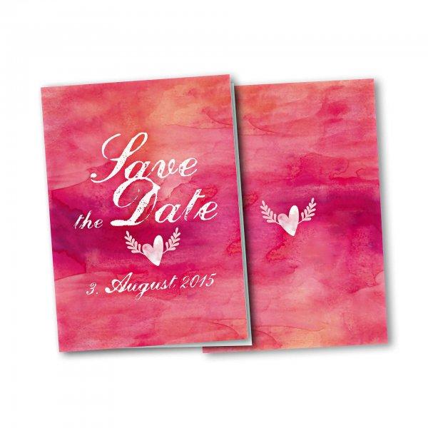 Einladungskarte – 4-Seiter DIN-A5 Kartendesign Hochzeitsherz mit Flügeln