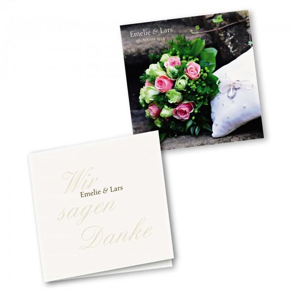 Danksagungskarte – 4-Seiter quadratisch Kartendesign Honeymoon