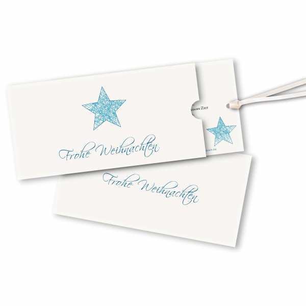 Weihnachtskarte – Schuberkarte DIN-lang mit Satinband Weihnachtsfaden Stern Version 1