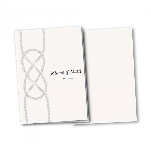 Einladungskarte – 4-Seiter DIN-A5 Kartendesign Kreuzknoten - maritime Hochzeitskarte