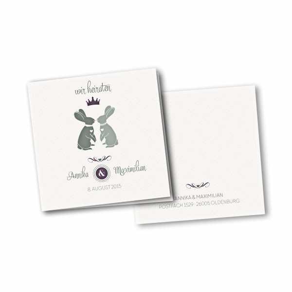 Einladungskarte – 4-Seiter quadratisch Kartendesign Zwei verliebte Hasen