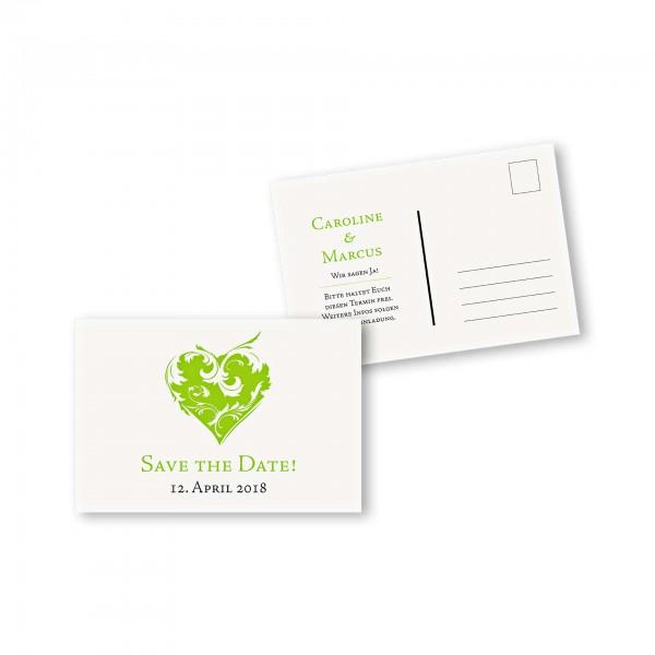Save the Date Postkarte – 2-Seiter DIN-A6 Kartendesign Traumhochzeit