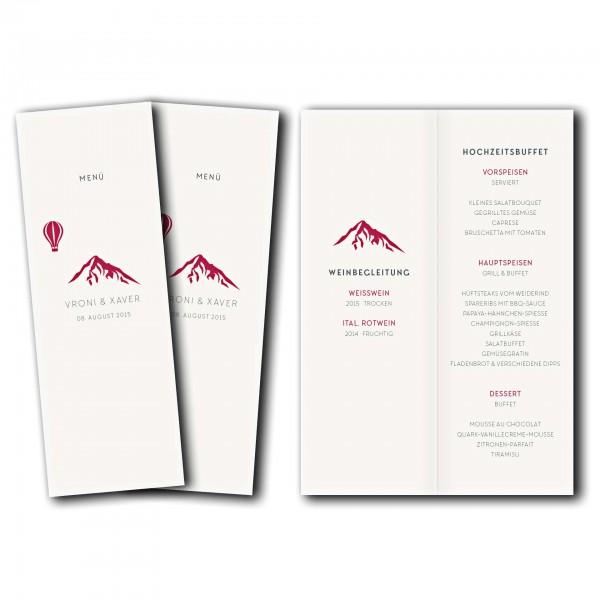 Menükarte – Kartendesign Hochzeitsfeier in den Bergen Version 4