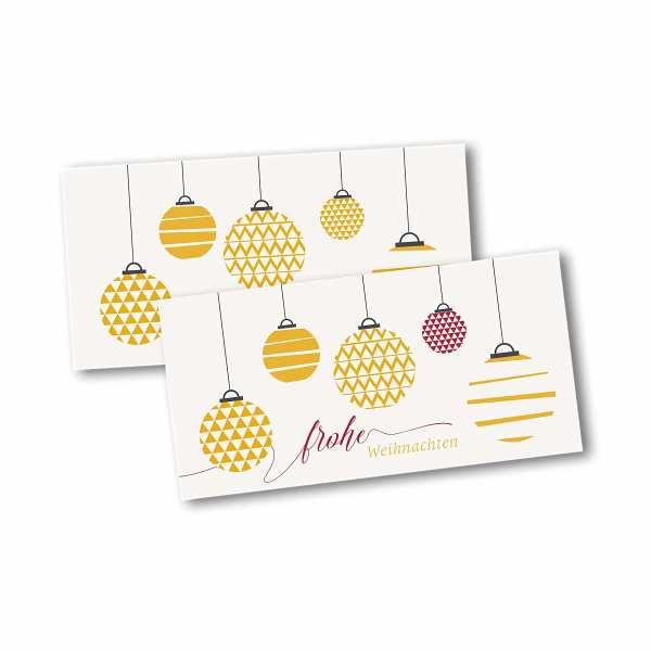 Weihnachtskarte – Klappkarte DIN-lang mit Kopffalz im Kartendesign Moderne Weihnachtskugeln mit Mustern Version 1