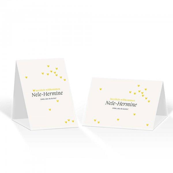 Platzkarte Aufsteller A6 – Kartendesign Verliebte Schmetterlinge zur Hochzeit