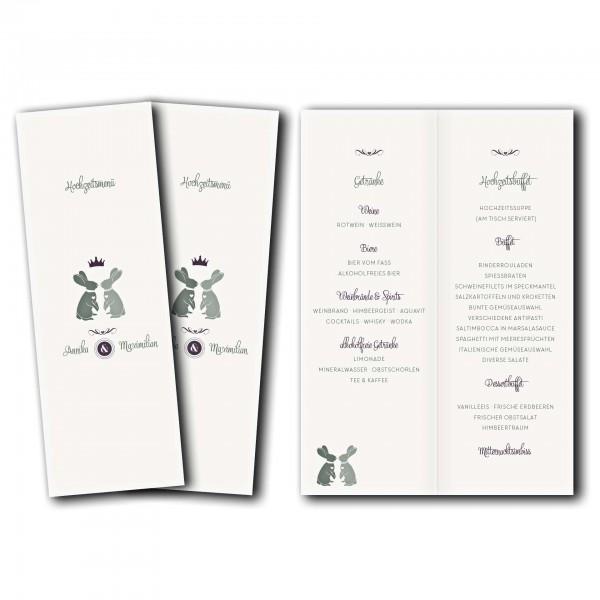 Menükarte – Kartendesign Zwei verliebte Hasen Version 2