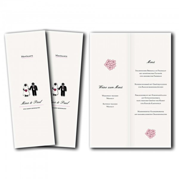 Menükarte – Kartendesign Traumpaar - Wir heiraten