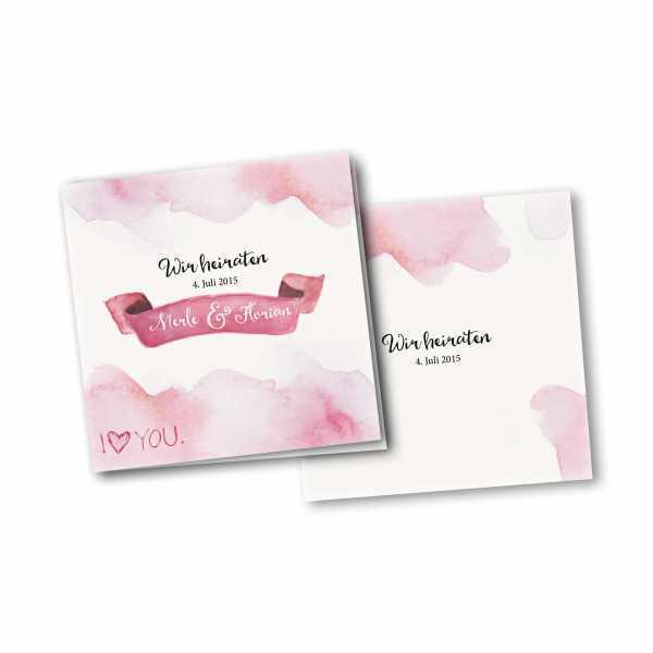 Einladungskarte – 4-Seiter quadratisch Kartendesign Rosa Wolken - Wir heiraten