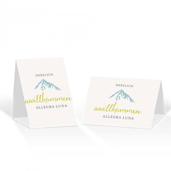 Platzkarte Aufsteller A6 – Kartendesign Hochzeitsfeier in den Bergen Version 3