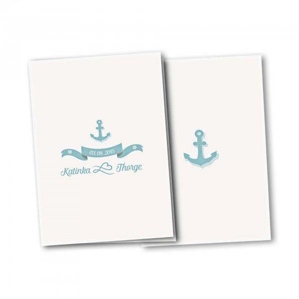 Einladungskarte – 4-Seiter DIN-A5 Kartendesign Anker mit Schleife und Schraffur