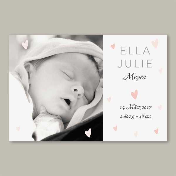 Geburtskarte – flache Karte mit Umschlag – 2-Seiter flache Karte zur Geburt in der Größe DIN-A6 Querformat mit dem Design Ella_Julie