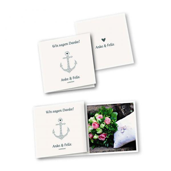 Danksagungskarte – 6-Seiter quadratisch Kartendesign Anker kombiniert mit Typografie Version 1