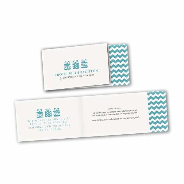 Weihnachtskarte – asymmetrische Klappkarte DIN-lang mit Rückenfalz im Kartendesign Weihnachtsgeschenke