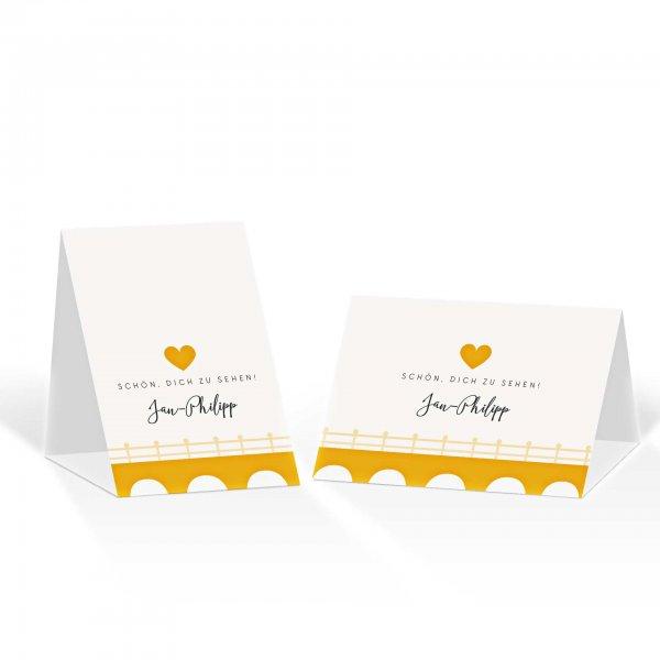 Platzkarte Aufsteller A6 – Kartendesign Heiraten in einer Mühle