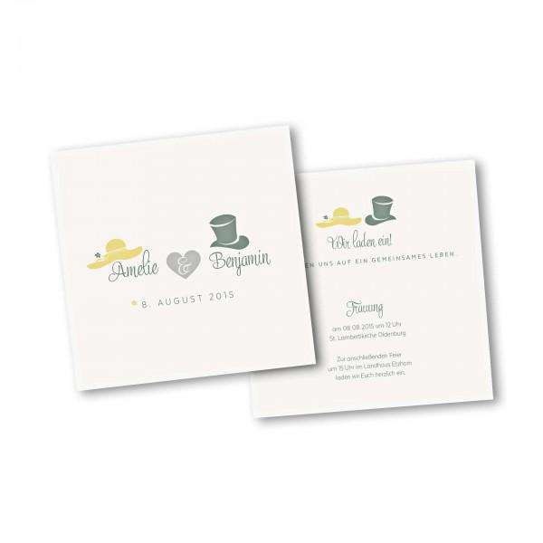 Save the Date Karte – 2-Seiter quadratisch Kartendesign Dresscode Hochzeit