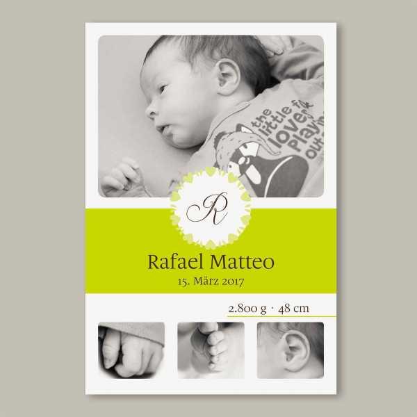 Geburtskarte flache Karte inkl. Umschlag – 2-Seiter DIN-A6 Hochformat Kartendesign Rafael Matteo