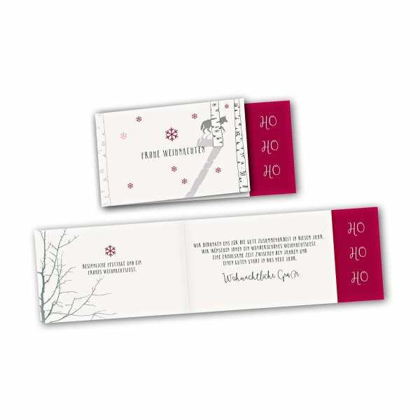Weihnachtskarte – asymmetrische Klappkarte DIN-lang mit Rückenfalz im Kartendesign Schnee im Wald