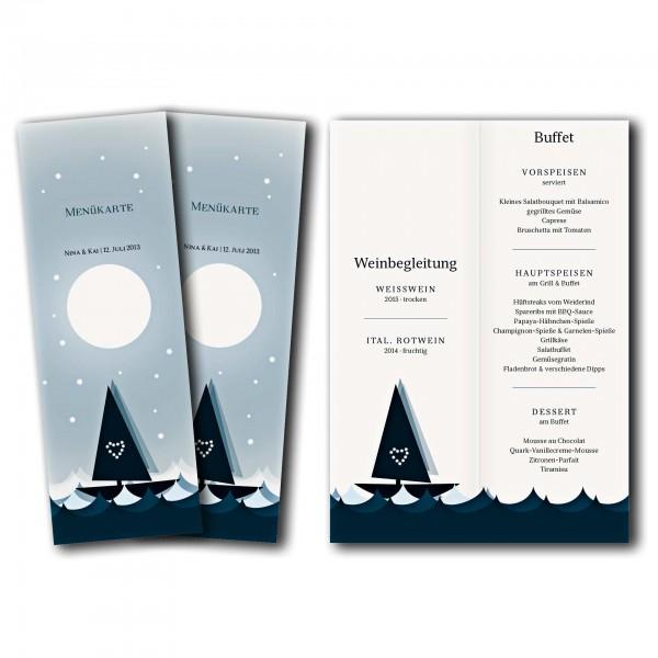 Menükarte – Kartendesign Mondscheinfahrt Version 1