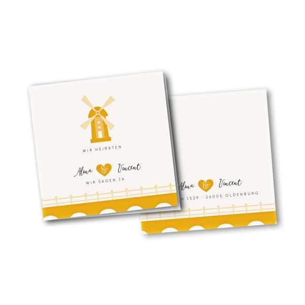 Einladungskarte – 4-Seiter quadratisch Kartendesign Heiraten in einer Muehle