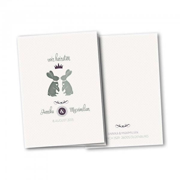 Einladungskarte – 4-Seiter DIN-A5 Kartendesign Zwei verliebte Hasen