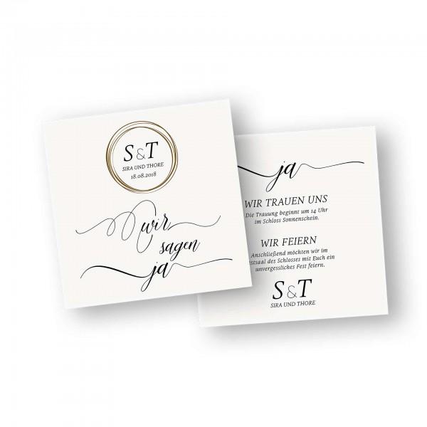 Save the Date Karte – 2-Seiter flache Karte quadratisch mit dem Kartendesign Hochzeitstag