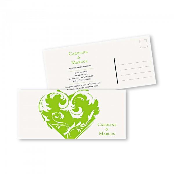 Save the Date Postkarte – 2-Seiter DIN-lang Kartendesign Traumhochzeit