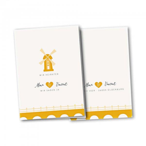 Einladungskarte – 4-Seiter DIN-A5 Kartendesign Heiraten in einer Muehle