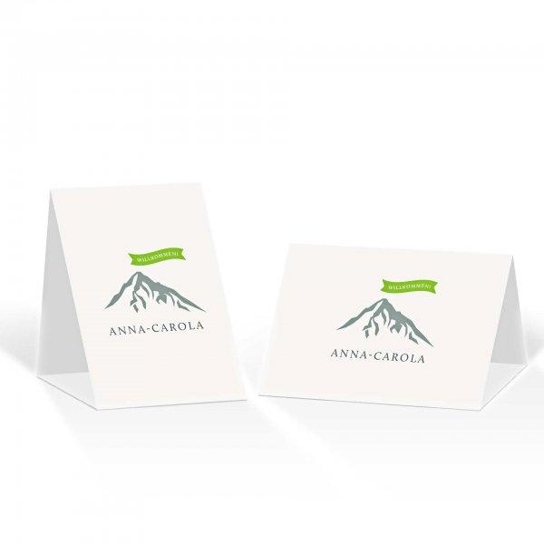 Platzkarte Aufsteller A6 – Kartendesign Hochzeitsfeier in den Bergen